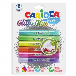 Carioca 6 db-os glitteres neon csillámragasztó
