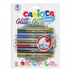 Carioca 6 db-os glitteres Mix csillámragasztó